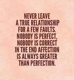 Verlaat een goede relatie niet zo maar.