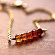 Autumn Garnet Bracelet Rust Honey Gold and Amber by GlitzGlitter