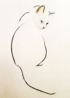 "I need this as a tattoo....Saatchi Art Artist Kellas Campbell; Drawing, ""Charcoal Pencil Cat"" #art This wood make a nice minimalistic wood burn too ;)"