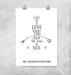 i / we love you to the moon and back personalised print by i love art london | notonthehighstreet.com