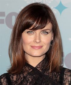 This simple and shiny look is cut to sit on the shoulders allowing the edges to flick out for a soft and flirty finish. The bangs are cut heavy and swept to the side complimenting the face beautifully completing the over-all style perfectly.