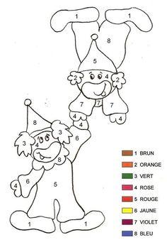 Coloriage magique - Clown 2 Maternelle