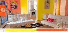 Cores quentes e mobília clean formam uma combinação perfeita para deixar a decoração da sua sala divertida. Inspire-se! #decor #interior