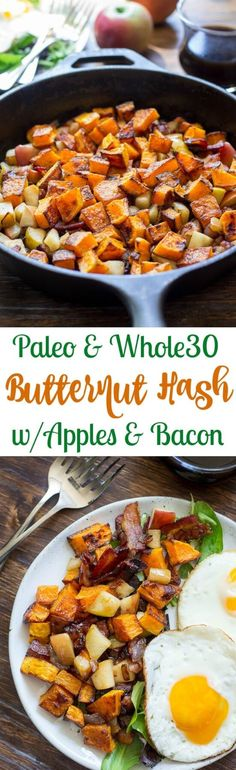Paleo Roasted Butternut Squash Hash Recipe with Apples & Bacon