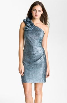 Hailey by Adrianna Papell Metallic One Shoulder Sheath Dress available at Nordstrom