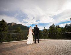 Della Terra Mountain Wedding Couple on Patio