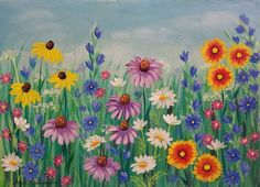Wildflowers Acrylic Painting Tutorial Free om YouTube by Angela Anderson #wildflowers #art #painting #acrylicpaint