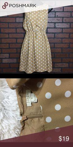 J. Crew Polka Dot Dress J.Crew , EUC, size 8. Tan & white polka dot simple dress. Sinched at waist! J. Crew Dresses Mini