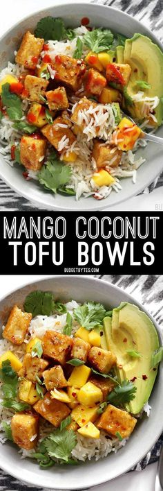 Mango Coconut Tofu Bowls with savory coconut rice, honey-lime glaze, avocado, sweet mango, and spicy red pepper are a delicious vegetarian meal. BudgetBytes.com
