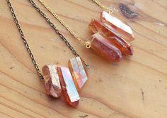 Orange Flame Raw Aura Quartz Spike Necklace by kissthefuture