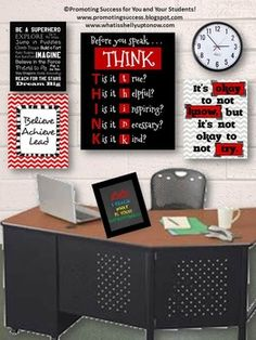 TEACHER PRINTABLED Beginning of the Year: This printable classroom poster is done with a black background, red boxes and white font. Before you speak...THINK.