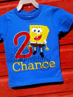 Spongebob Birthday Number Applique T Shirt By AEMembroidery Tshirt Colors Numbers 2nd