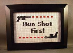 Han Stitched First: The Star Wars Needlework Web Site #StarWars #Geek #Embroidery #Crossstitch