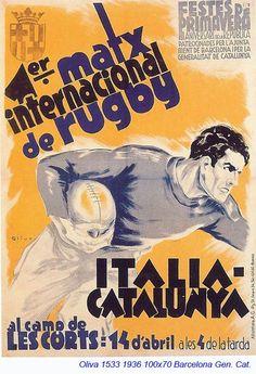 1936. #Rugbi #Rugby Festes de la República. Selecció Catalana vs Itàlia. Editat per la Generalitat de Catalunya