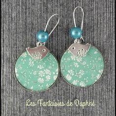 Grande boucles d'oreilles motif liberty  capel turquoise