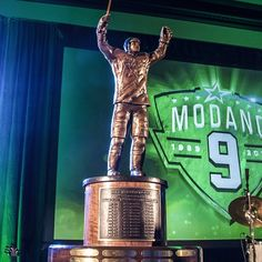 The Dallas Stars announce The Mike Modano Trophy! The trophy will be presented annually to the Stars regular season leader in points. Stars Hockey, Hockey Teams, Hockey Players, Mike Modano, The Mike, Texas Star, Statues, Cowboys, Dallas