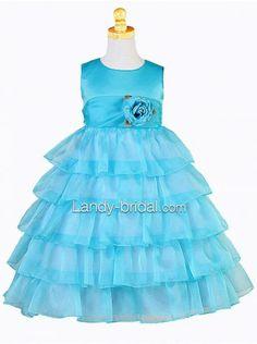 Ball Gown Jewel Floor Length Organza Blue Flower Girl Dress Bfpp0002