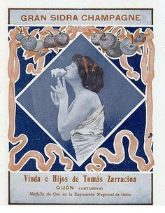 Anuncio de 1914 de la sidra champagne ZARRACINA, de Gijón