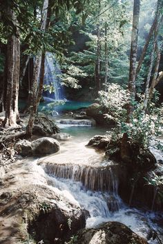 Find images and videos about nature, awesome and water on We Heart It - the app to get lost in what you love. All Nature, Amazing Nature, Nature Water, Beautiful Waterfalls, Beautiful Landscapes, Beautiful World, Beautiful Places, Forest Waterfall, Les Cascades