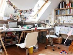 I have always imagined my next studio space to have large Velux windows, letting in lots of natural light...may need to convert the loft first though.