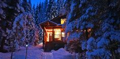 Winter at night. Luxury Cabin, Natural Bridge, Gold Cup, Winter Photos, British Columbia, Paths, Remote, Old Things, Ymir