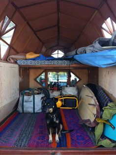 "van-life: ""jaynelsonart: ""Heading down to San Diego to start a new project "" The inside of Jay Nelson's camper "" Homemade Camper, Custom Campers, Van Dwelling, Vanz, Van Living, Surf Shack, Camper Conversion, Go Camping, Camping Tricks"