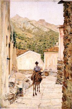 The Athenaeum - Una via di Poggio all'isola d'Elba ( 1899 ), Telemaco Signorini