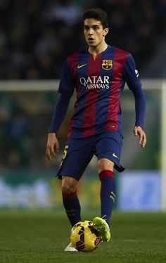 Bartra of Barcelona in action during the La Liga match between Elche FC and FC Barcelona at Estadio Manuel Martinez Valero on January 24, 2015 in Elche, Spain.