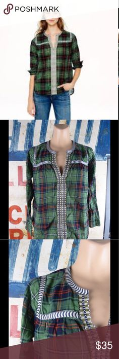 """J. Crew Plaid Embroidered Peasant Top Shirt Size 0 SIZE & FIT Body length: 23"""". PRODUCT DETAILS Hand-drawn trim gives this floaty peasant top a little bit of edge.  Cotton. Front keyhole with hook-and-eye closure. Bracelet sleeves. Functional buttons at cuffs. Machine wash. Import. Item 07599. J. Crew Tops"""