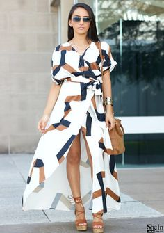 Shop White Short Sleeve Geometric Print Split Maxi Dress online. SheIn offers White Short Sleeve Geometric Print Split Maxi Dress & more to fit your fashionable needs.