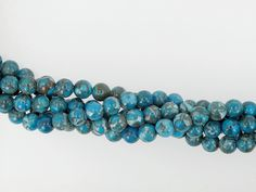 Blue fossil beads 6mm, Gemstone beads, DIY loose beads, Full strand 16 inches by Susiesgem on Etsy