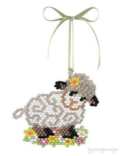 Cure Little Lamb Seed Bead Patterns, Beaded Bracelet Patterns, Peyote Patterns, Loom Patterns, Beading Patterns, Free Beading Tutorials, Beading Projects, Stitch Ears, Beaded Banners