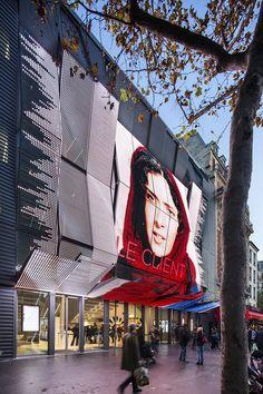 Gallery of Gaumont-Pathé Alésia Cinemas / Manuelle Gautrand Architecture - 8 Cinema Architecture, Commercial Architecture, Futuristic Architecture, Architecture Photo, Shopping Mall Architecture, Mall Facade, Retail Facade, Building Facade, Building Design