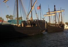 Replica of The Nina and The Pinta at the Inlet Harbor, Ponce Inlet, Fl.