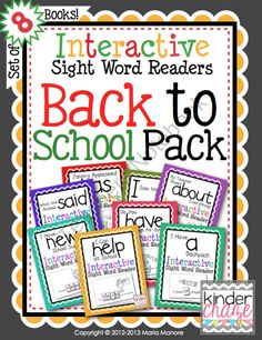 This set of 8 back-to-school themed emergent readers provides students with an opportunity to read and spell sight words in a hands-on way. Each Interactive Sight Word Reader highlights one word to study. School Pack, School Tool, School Stuff, Alphabet Phonics, Phonics Words, Teaching Kindergarten, Preschool, Kindergarten Freebies, Teaching Ideas