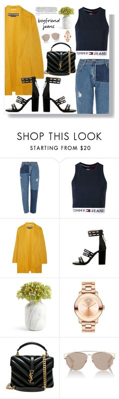 """""""Borrowed From My Boyfriend"""" by fashionfreakforlife ❤ liked on Polyvore featuring River Island, Tommy Hilfiger, Rochas, Movado, Yves Saint Laurent, Christian Dior, boyfriendjeans, contestentry, polyvoreeditorial and polyvorecontest"""