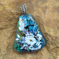 Blue Fused Glass Pendant Dichroic Glass Jewelry Blue by GlassCat, $22.50