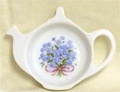 Blue Forget Me Not Porcelain Teapot Tea Caddy Set - Fielder Keepsakes