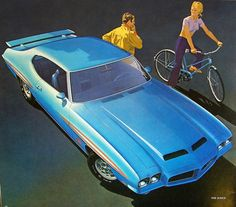 1971 Pontiac GTO Judge Hardtop, illustration by Art Fitzpatrick. one of the last of his artwork for Pontiac.