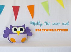 Items similar to Molly, the wise owl - PDF sewing pattern, felt owl, ornament, softie on Etsy Owl Ornament, Ornaments, Sewing Hacks, Sewing Projects, Wise Owl, Pdf Sewing Patterns, Making Out, Felt, How To Make