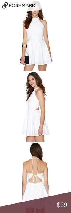 Nasty Gal Anna Dress Halter neck white dress with scrappy detailing at the back, a fitted waist and an zip closure. Worn once at a party, really cute! :) fits sizes S, M | prices are all negotiable Nasty Gal Dresses Strapless