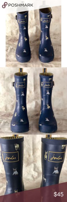 Joules Dog Print Wellington Rain Boots/Wellies ADORABLE dog printed rain boots by Joules! Navy blue rubber with dogs printed all over. Yellow and blue striped lining. These boots are fashionable and will keep your feet dry! They're in preowned but excellent condition! Women's size 7. Joules Shoes Winter & Rain Boots