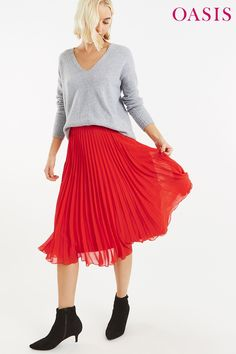 802dcd2c9 Womens Oasis Coral Pleated Skirt - Red. Sale UkSkirt FashionFashion ...