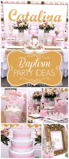 What a beautiful bird themed baptism party in pink! See more party planning ideas at CatchMyParty.com!