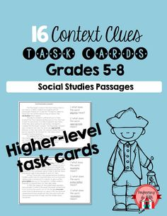 Higher-level Context Clues Task Cards. 16 long reading passages. $