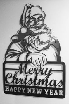 Santa Claus Merry Christmas happy new year sign