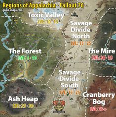 Maps for Fallout 76 Video Game, Walkthrough and Game Guide for Fallout Locat. - Maps for Fallout 76 Video Game, Walkthrough and Game Guide for Fallout Locations and places wor - Fallout Map, Fallout Funny, Fallout Quotes, Fallout Comics, Fallout Lore, Fallout Facts, Video Game Quotes, Video Games, Fallout 4 Power Armor