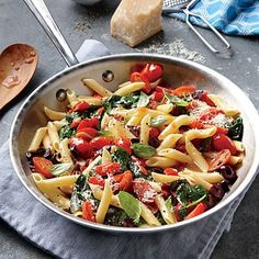 Grape Tomato, Olive, and Spinach Pasta | A Year of Meatless Meals | MyRecipes.com