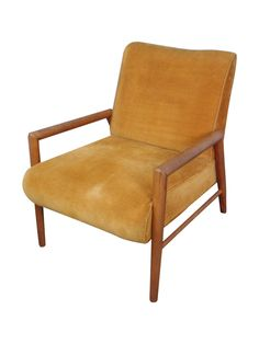 "The Conant Ball lounge chair is attributed to designer Leslie Diamond. This particular chair displays the original warm, gold corduroy upholstery, which is in very good condition. If you're trying to create a Mid-Century room with a color scheme typical of the era, this piece will fit well.  Height of the back measures 31"", height of the seat is 17"", width from arm to arm is 25.5"", and full depth from seat front to back legs is approximately 32""."