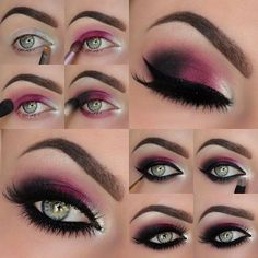 Image via How to Apply Smokey Eyeshadow Step by Step Image via See make-up ideas Step by Step. Make-up in purple and blue tones. Image via Make-up lessons for beginners as beautif Bad Makeup, Pretty Makeup, Love Makeup, Prom Makeup, Stunning Makeup, Worst Makeup, Glamorous Makeup, Perfect Makeup, Amazing Makeup
